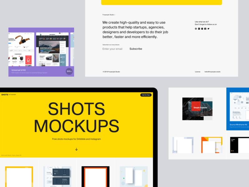 Free Shots Mockups for Dribbble and Instagram template ui ux adobe xd figma design illustration interface sketch ui kit web design