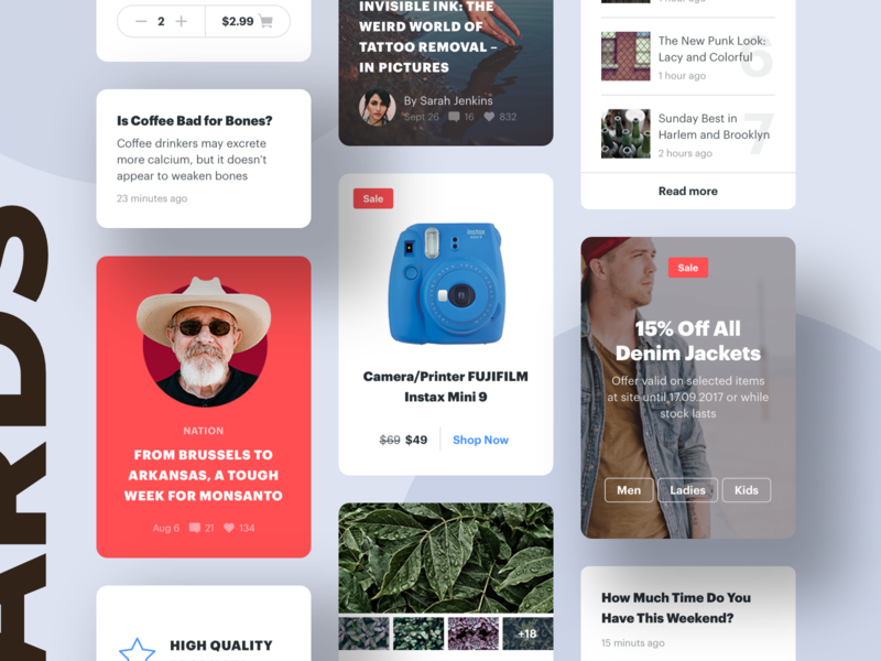Universal Cards for Complex Projects adobe xd shop design ui figma ecommerce interface ui kit sketch web design