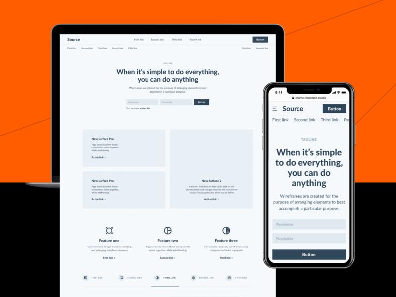 Source Wireframe Samples template landingpage design figma ui ux ui kit interface sketch web design