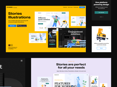Stories Illustrations website webdesign web ux ui design product interface design ui