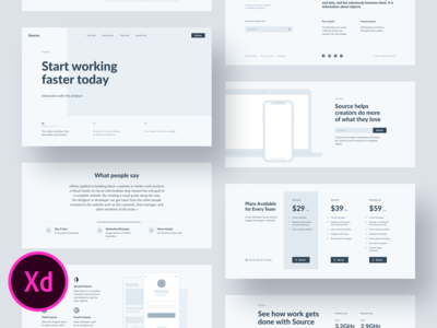 Source Wireframes for Adobe XD