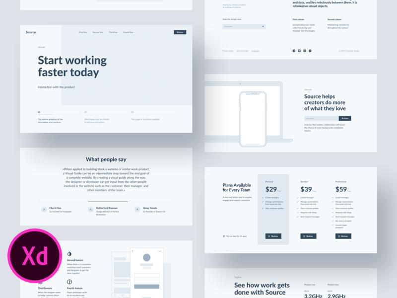 Source Wireframes for Adobe XD webdesign ui design web design interface