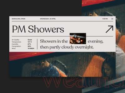 Weather UI Experiment interface app weather editorial editorial design photograhy product design ux ui