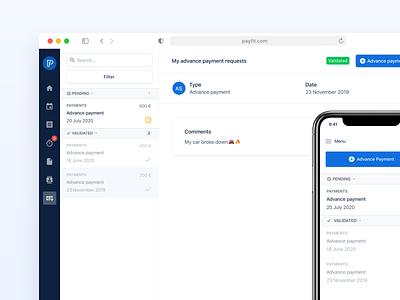 Payfit - Advance payments 💳 real project apple app interface minimalism minimalist iphone big sur responsive payment design system uxui ui ux product design