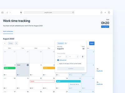 Payfit Calendar UI scheduler css app real project calendar app calendar ui calendar product design product