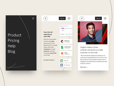 Typeform's mobile site real project responsive ux web design conversation mobile typeform design web ui