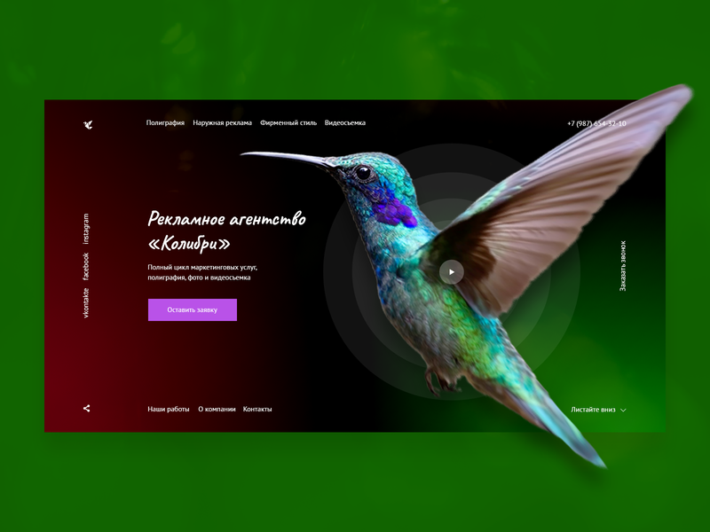 Marketing agency main page concept nature concept colibri bird ad agency marketing