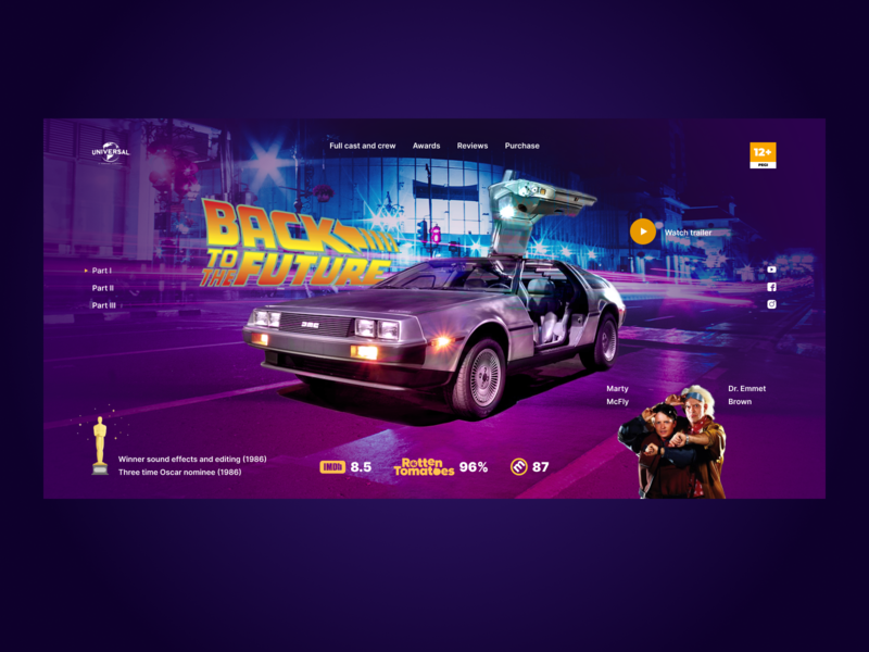 Back to the future [weekly ui challenge / concept #2] car movie poster tv show delorean back to the future concept movie