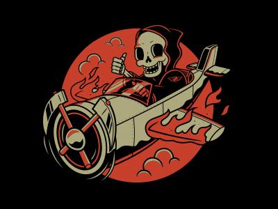 Death From Above reaper skulls plane illustration