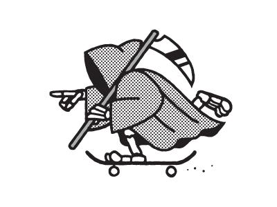 Ride Fast, Live Long reaper skateboarding vector illustration