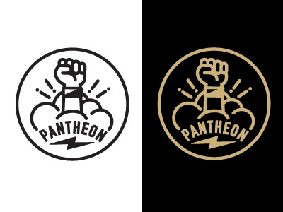 Pantheon logo fist circle vector