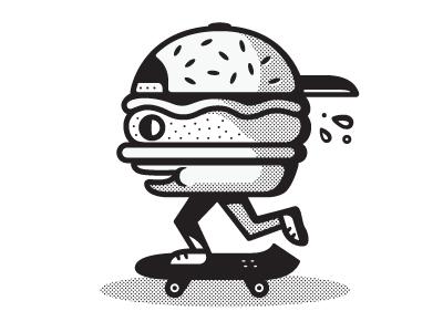 Skateburger burgers skateboarding illustration