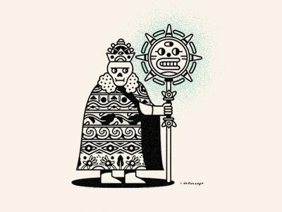 The Sun King  illustration lines shapes skulls kate upton