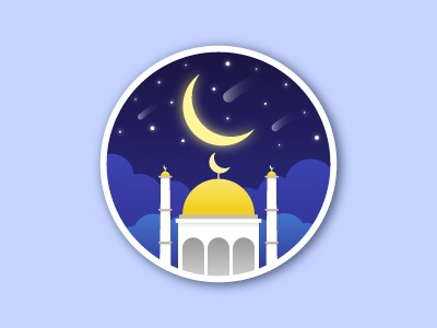 Mosque at Night Scene