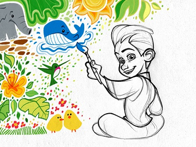 Dribbble Debut sketch drawing illustration character cute color boy paint painting digital photoshop elephant whale chicks flowers hummingbirds