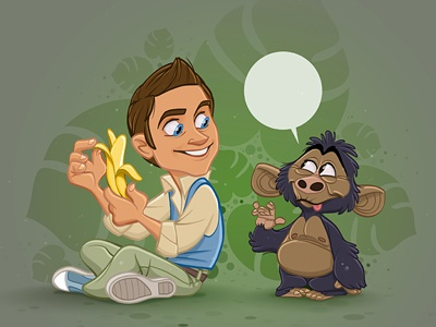 Yes! We Have No Bananas cartoon jungle ape monkey banana character cute design photoshop drawing sketch illustration