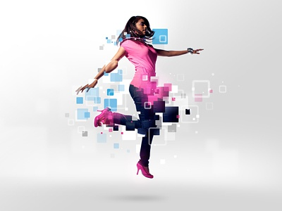 Microsoft Employees microsoft design illustration photoshop float levitate jump pink blue retouch girl woman