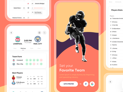 Kick off app ui kit soccer app football club football soccer interface icons sketch landing graphics ios website design app ux ui