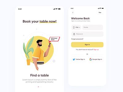 Login screens (Half Restaurant app) registration restaurant food login yallow illustration interface icons sketch landing graphics ios website design app ux ui