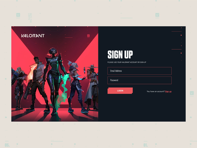 Sign up VALORANT EVENT design ux signup games riot valorant ui