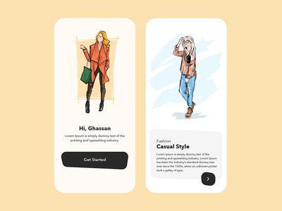 Onboarding Casual Fashion cuberto landing illustration sketch interface icons graphics ios website design app ux ui