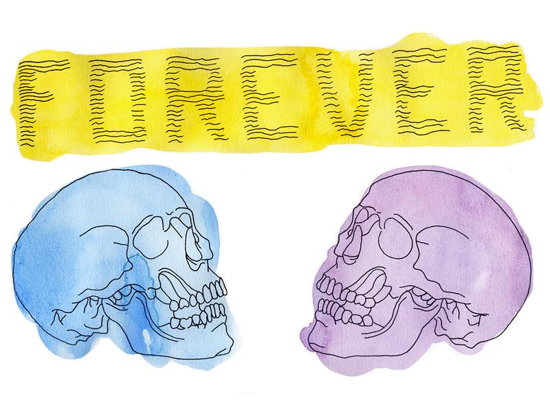 Forever Skulls illustration watercolor skulls