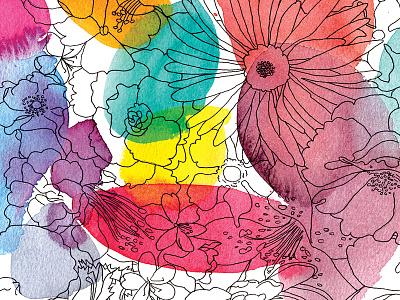 Flower Pattern illustration watercolor skulls