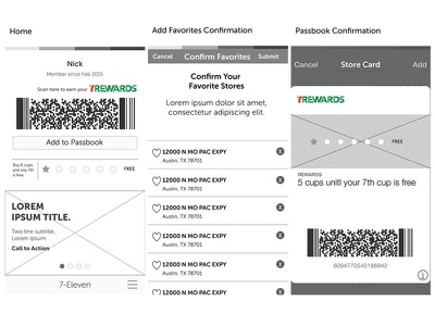 7-11 Mobile App Passbook Integration passbook ios process wires wireframe mobile app