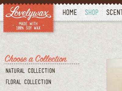 Lovelywax Header ui texture retail ecommerce orange off-white beige