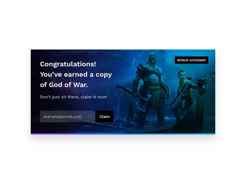 Daily UI 097 :: Giveaway modal popup giveaway god of war day 097 daily ui 097 097