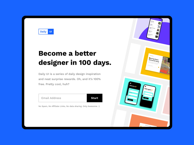 Daily UI 100 :: Daily UI Landing Page sign up landing page ui day 100 daily ui 100 100 daily ui