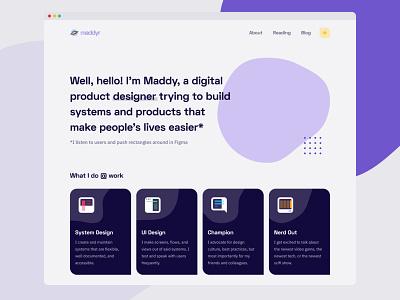 Personal Portfolio — Home icon design dark mode minimal minimalist portfolio website personal portfolio