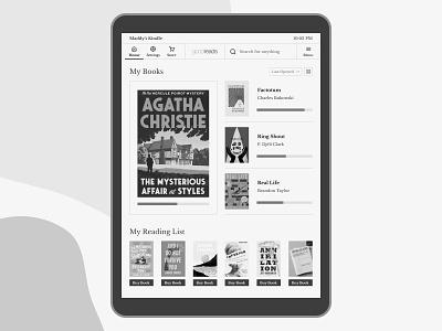 Kindle — Home Concept minimalist concept redesign minimal monochrome reading app ereader kindle