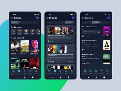 Letterboxd — Browse Concept movie app gradient ui ui ux mobile app android app google pixel letterboxd browse dark mode redesign concept