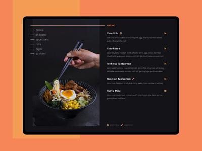 Daily UI 043 :: Food Menu dark theme dark mode ui day 043 daily ui 043 daily ui food menu menu 043