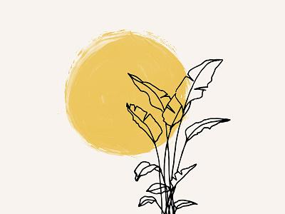 Sun & Palm Illustration painting painted art design artwork illustration