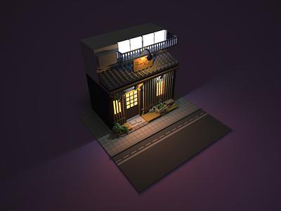 3D Japanese Storefront process design art pixel shop japanese 3d magicavoxel voxel