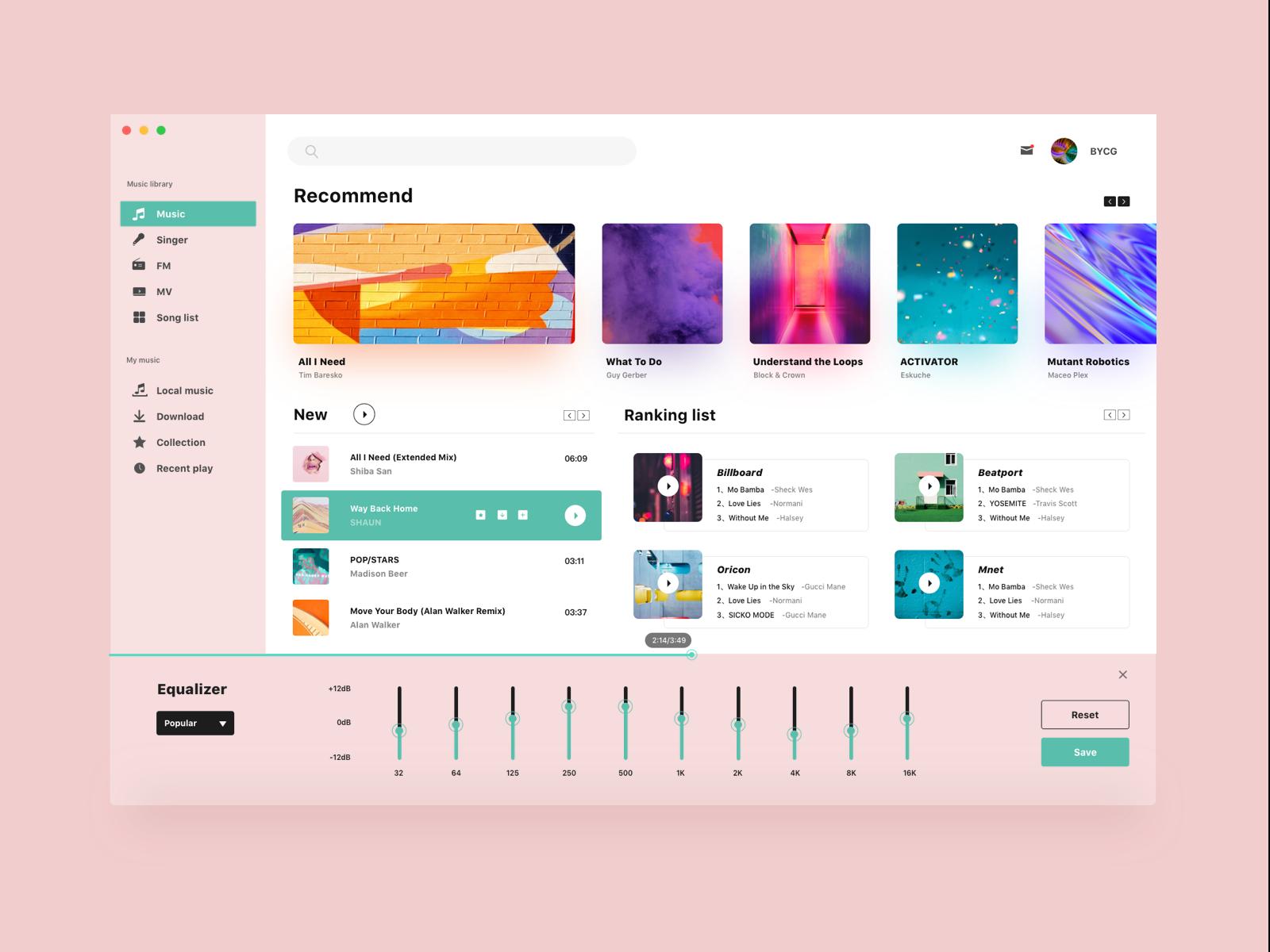 Music player ipad ux ui app web white music