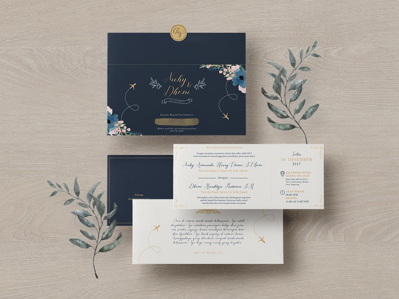 Nicky & Dhoni's Wedding Invitation illustration botanical wedding invite rustic wedding invitation invitation