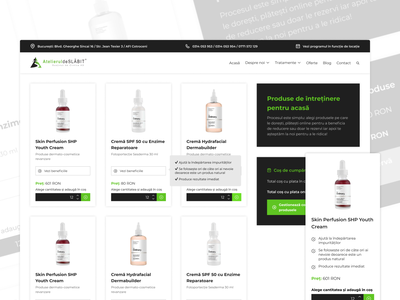 Skin Care Shop Page cards products clean web skincare skin care green white user experience user interface ux ui woocommerce wordpress shop ecommerce design website online ecommerce shop ecommerce