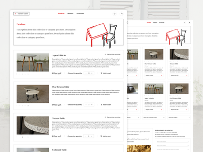 Furniture Shop Page red and white cards products uiux clean white web minimal ux ui shop furniture web design website simple ecommerce