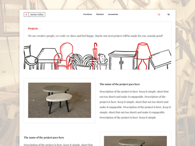Furniture Shop Projects Page webdesign minimalist simple ux ui white and black red white clean minimalistic website simple website furniture projects furniture shop portfolio projects page shop website gallery showcase projects