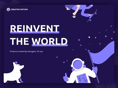 Creative Motion Landing Page agency illustrations minimal simple purple landing website ux ui