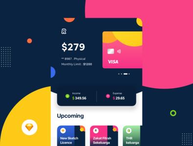 Digital Banking Exploration #Revolut color bank app expense income transaction credit card payment credit card credit revolut digitalbanking bank dribbble illustration ux mobile debut