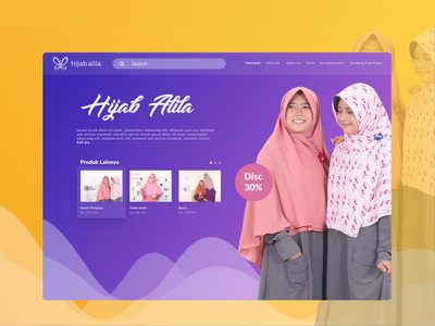 Hijab Alila interface web design shot e-commerce design ux ui shop dribbble header