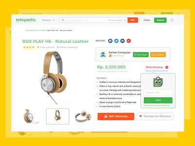Re-Stock Notification design uidesign webdesign produc ux ui ecommerce