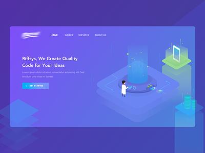 Code Laboratory Header design web code lab character color ui page landing header illustration debut