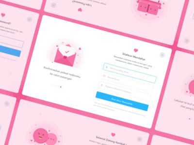 Form dribbble dashboard illustration up in sign debut love design form