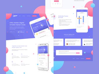 Muslim Assistant Landing Page responsive apps mobile dribbble debut web color moslem muslim page landing