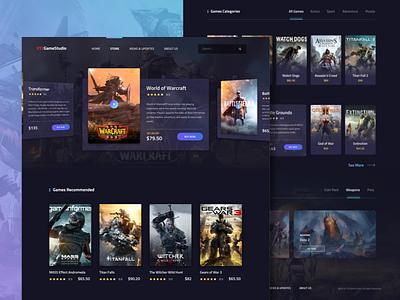 Game Exploration page landing place market header slider ui dark debut illustration website games